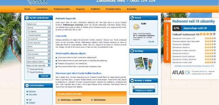 Ukázka - Dotazníky spokojenosti - hodocení cestovní kanceláře